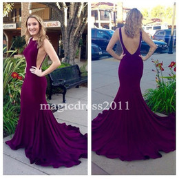 Wholesale Plum Chiffon Dress - 2016 Dark Plum Long Mermaid Prom Dresses Real Sexy Open Back Evening Dress Jewel Sweep Train Formal Party Gowns cheap for sale