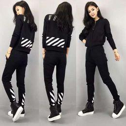 Wholesale Black Stand Collar Suit - Sportwear Hoodies Tracksuits Long Sleeve Tops Full Pants Slim Fit Women Sport Suit Two Pieces Set Printed Jogging Femme