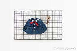 Wholesale Elegant Denim Dresses - INS autumn NEW arrival Girls Kids long Sleeve pet pan collar denim army style dress kids causal 100% cotton girl fall elegant casual dress