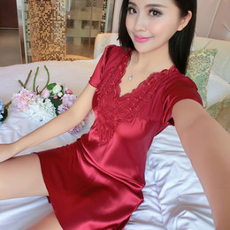 Wholesale Lingerie Satin Night - Wholesale- 2017 New Brand Sexy Nightgown Women Embroidery Satin Silk Sleepwear Sexy Lingerie Robe Spring Summer Short Sleeve Night Dress
