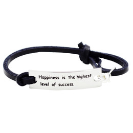 Wholesale inspirational leather bracelets - Happiness Is The Highest Level Of Sucess- Silver Leather Inspirational Bracelet With Encouragement Quote Words Life Philosophy Saying Gifts