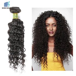 Wholesale Processed Weave Remy - 4 Bundles Deep Wave Virgin Hair Weave Bundles Processed Deep Curly Human Hair Extension Brazilian Malaysian Peruvian Hair Dark Brown