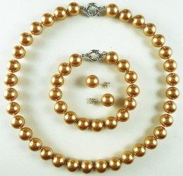 Wholesale Luxurious Wedding Earrings - AAA+ 8mm gold champagne luxurious shell pearl bracelet earring necklace set kp5