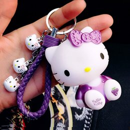 Wholesale Cute Cat Keychains - Korean Cute Cat KT Cartoon Keychain Female Fashion Bell Leather Rope Hanging Bag Wholesale Couple Key Chain