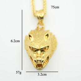 Wholesale Men Gold Pendent - Hip Hop Wolf Head chain Necklace Men's fashion pendent Jewelry for men women gift High Quality