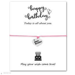 Wholesale Happy Birthday Bracelet - (10 pcs lot) Silver Happy Birthday Heart Cake Charm Bracelets & Bangles for Women Girls Adjustable Friendship Statement Jewelry with Card