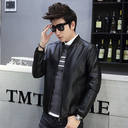 Wholesale Mens Leather Biker Jacket Xl - Fall-Winter Fashion Mens Leather Biker Jacket Mandarin Collar Full Sleeve with Zipper Motorcycle Style Men's Jackets for M-XXXXL