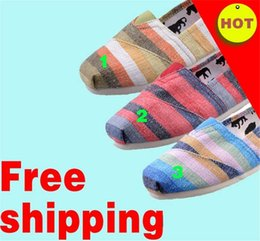 Wholesale Rainbow Striped Fabric - Men And Women Casual Shoes Flats Shoes Canvas Shoes 3 colors 35-40 size adults Rainbow Stripe Style Hot Selling