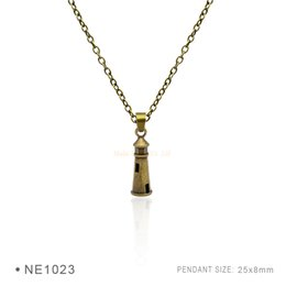 Wholesale Lighthouse Gifts Wholesale - Lighthouse Castle Charm Fashion Silver Pendant Necklaces Charms Pendant 3D Plated Collar Body Chain Gift for Women Girls Boys Jewelry