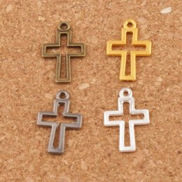 Wholesale Gun Beads - Hollow Cross Charm Beads Pendants 300pcs lot Silver Gold Gun Black 17x10.5mm 4colors L422 Fashion Jewelry DIY