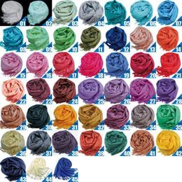 Wholesale Long Silk Scarves Wholesale - 100pcs Pashmina Cashmere Silk Solid Shawl Wrap Unisex Long Range Scarf Women's Girls Ladies Scarf Pure 46 Color