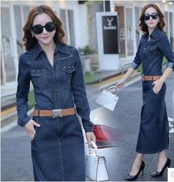 Wholesale Dress Lapel Long Sleeve Princess - New Arrival Fashion Slim Sweety Princess Female Tide Noble Sexy Summer Denim Blue With Belt Cowgirl Dress Split Noble Elegant Dress