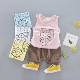 Wholesale Wholesale Infant Tank Tops - Cartoon Boys Outftis Summer Baby Clothing Sets Infant Causal Set Korean Fashion Printed Tank Tops + Shorts 2pcs Suits C1086