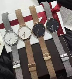 Wholesale Men Luxury Automatic Watch Replicas - Brand 4 colors Classic watch Luxury Watch For Men Women Stainles steel Strap Military Quartz Wristwatch (Replica D&W Watches) 1pcs free ship