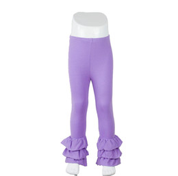 Wholesale Baby Ruffles Leggings - 2016 Top Fashion Rushed Wholesale 100% Cotton Fall winter Baby Girls Solid Color Triple Ruffle Pants Kids Boutique Bottoms Icing Leggings