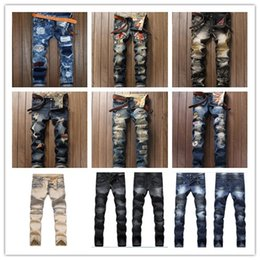 Wholesale Denim Short Pants Harem - Men's Distressed Skinny Jeans Fashion Designer Mens Shorts Jeans Slim Motorcycle Moto Biker Causal Mens Denim Pants Hip Hop Men Jeans#1118