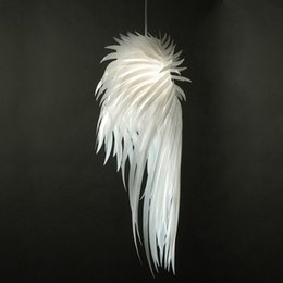 Wholesale Modern White Pvc Pendant Lamp - Modern IRACUS DIY PVC Dining Room Ceiling Pendant Lamps Bedroom Study Room Acrylic Feather Wing Pendant Light Balcony Hallway Plastic Lamps