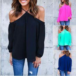 Wholesale Blouses Open Back - European Fashion Dew Shoulder Chiffon Blouse Women Sexy Long Sleeve Blouse Open Back T-shirts