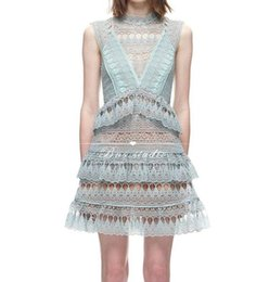Wholesale European Fashion Design Dresses - Women's european fashion new design sexy sleeveless mint green color lace crochet floral hollow out turtleneck dress cake layered dress