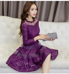 Wholesale Korean Ball Gowns - 2017 Autumn Women Lace A-Line Dresses Korean Fashion Sexy Ball Gown Slim Long Sleeve O-Neck Casual Chiffon Dress
