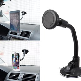Wholesale Magnetic Arm - Wholesale-Long Arm Car Suction Cup Magnetic Windshield Dashboard Mount Holder For iPhone 7 Plus 6 6s Plus 5s 360 Degree Rotatable Display
