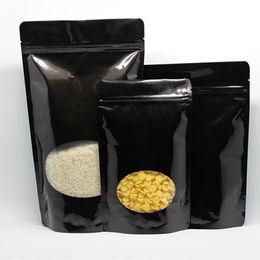 Wholesale Black Bean Bags - 100Pcs  Lot 13*21cm Black Stand Up Zipper Top Pure Aluminum Foil Packing Bag For Cereals Coffee Bean Mylar Storage Pack Pouch