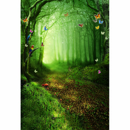 forest background backdrops Promo Codes - Fairy Tale Forest Photographic Studio Booth Background Trees Mushrooms Colorful Butterflies Kids Children Photography Backdrop Fantasy