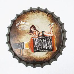 Wholesale Bottle Cap Art - Jack Daniel's Round Bottle Cap vintage Tin Sign Bar pub home Wall Decor Metal art Poster