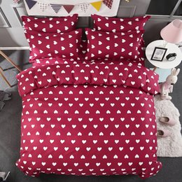 Wholesale Duvet Cover Sets Single - Wholesale love Heart Red Bedding Set White Hearts Duvet Cover Bed Set Single Double Queen King Size Bed Sheets Bedlinen Dropshipping