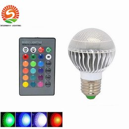 Wholesale Led Controller Living Room - 9W E27 RGB Led Bulbs Light 16 Colors Change Led Lamps For Xmas Party Lighting AC 85-265V+24 Key Remote Controller