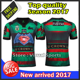 Wholesale Shirt Batman - In stocks 2017 South Sydney Rabbitohs 2RD Batman v Superman rugby jerseys rugby shirts Men shirts top quality shirts