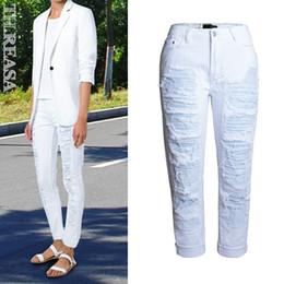 Wholesale Loose Cotton Pants For Women - Wholesale- New Arrival Boyfriend Jeans For Women Fashion Loose Jeans Pants BF Style Distressed Hole Patchwork Lady Punk Pants Jeans White