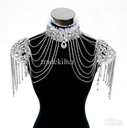 Wholesale Wedding Gown Tiara - New Style Epaulet Jacket Crystal Jewelry Necklace Earrings Sets Wedding Bridal Dresses Dress Gown.