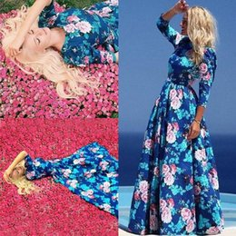 Wholesale Long Dresses Sleeves For Beach Party - Fashion Womens Maxi Dresses Beach Floral Long Cocktail Party Dress Boho Style Long Casual Dress Floral Print Summer Beach Dresses For Womens