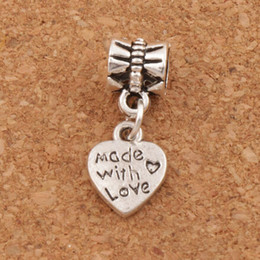 Wholesale Made Love Charms - Made With Love Heart Metal Big Hole Beads 100pcs lot Antique Silver Bronze Fit European Charm Bracelets Jewelry DIY B319 9.8x23.5mm