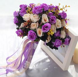 Wholesale colorful rose bouquet - Rose Lace Bouquet Wedding Decorative Flowers Colorful Bridal Bouquet Artificial Wedding Bouquets Wedding Photo Photography Props