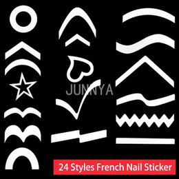 Wholesale Light Pink Gel Nail Kit - Wholesale- 1 pc White French Manicure Stickers French Gel French Manicure Set Kit Nail Sticker Polish Nail Guide Decoration Decal JMA0001