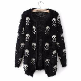 Wholesale Puff Sleeve Sweater White - new autumn and winter sweater female women skull mohair sweater cardigan jacket