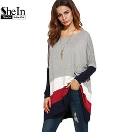 Wholesale Womens Loose Oversized Top - Wholesale- SheIn Color Block Loose T Shirt Women Round Neck Womens Long Sleeve Tops Ladies Casual Tees Oversized Longline T-shirt