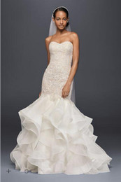 Wholesale Sweetheart Neckline Trumpet Wedding Dress - 2017 Organza Mermaid Wedding Dresses Sweetheart neckline with applique sequins bodice and Tiered skirt CWG769 Bridal Gowns