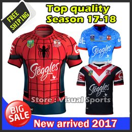 Wholesale Spider Man Top - 2017 Sydney Roosters rugby jerseys men 9S rugby shirts Spider Man jerseys home jerseys top quality Roosters Auckland Nines shirts size S-3XL