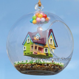 bprice-bprice prices - Wholesale-DIY Glass House Paradise Falls UP Flying Cabin House Model With Lamp Miniature Furniture Handmade Wooden Toy For Kids Child