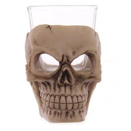 2020 tazas de chocolate caliente Taza del cráneo 3D vidrio creativo vodka vodka vino novedad accesorios de la barra de Halloween Party Cup Orror decoración caliente 15gf F R tazas de chocolate caliente baratos