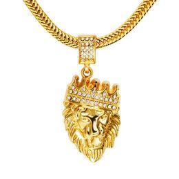 Wholesale Men Wedding Crowns - Fashion Lion Head 18k Gold Plated CZ Diamond Crown Necklace Men Necklace Hip Pop Jewelry Free Shipping