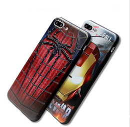 Wholesale Iphone Cases Character - For iPhone7 7Plus 3D Cartoon Characters Superman Iron man spiderman TPU Soft Silicone Gel Rubber Case Cover 20