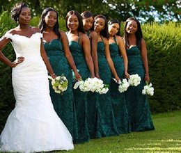 Wholesale Mermaid Sweethear - green lace African bridesmaid dresses 2018 sweethear neckline mermaid sweep train party dresses for wedding guest