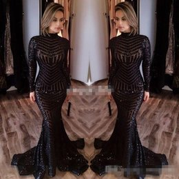 Wholesale Crystal Bling Columns - Michael Costello Long Sleeve Evening Dresses Bling Bing Black Sequins High Neck Mermaid 2017 Sexy Celebrity Gowns Pageant Prom Dresses Cheap