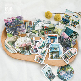 Wholesale Scrapbooking Stickers Diy - Wholesale- 45 pcs lot Travel Landscape mini paper sticker decoration DIY ablum diary scrapbooking label sticker kawaii stationery