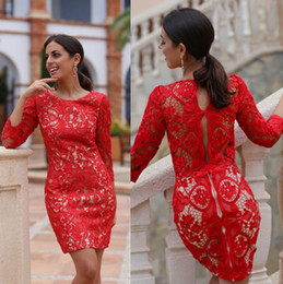 Wholesale Dress Mother Bride Mini - Mini Short Red Lace Cocktail Dresses 2017 Sheath Jewel Neck Vintage Long Sleeves Mother of Bride Groom Dresses Homecoming Prom Gowns