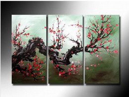 Wholesale Gogo Fashion - Framed Hot Sell 3 panels Flower Plum Blossom, Pure Handpainted Huge Modern fashion home Wall Deco Art Oil Painting On canvas ali-gogo